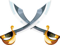 Crossed pirate sabers Royalty Free Stock Images