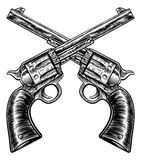 Crossed Pistol Gun Revolvers Vintage Woodcut Style Royalty Free Stock Photo