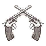 Crossed Pistols Hand Draw Sketch. Vector Stock Photography