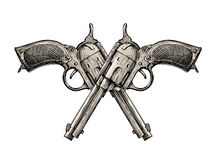 Crossed pistols. Vintage vector gun, pistol, handgun. Retro revolver Royalty Free Stock Image