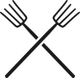 Crossed Pitchforks vector. Occupation garden Royalty Free Stock Photos