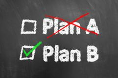 Crossed plan a ticked plan b text on chalkboard or blackboard stock images