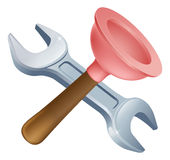 Crossed plunger and spanner tools Royalty Free Stock Images