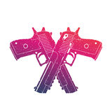 Crossed powerful pistols, two handguns on white Royalty Free Stock Photography