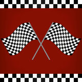 Crossed Racing Checkered Flags. On red background Stock Image