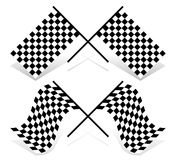 Crossed racing flag set. Resting and waving version. Vector illustration of crossed racing flags. Resting and waving versions included Royalty Free Stock Image