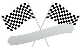 2 crossed racing flags with empty banner, plaque shape for texts Stock Photography