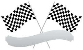 2 crossed racing flags with empty banner, plaque shape for texts Stock Photos