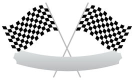 2 crossed racing flags with empty banner, plaque shape for texts Royalty Free Stock Photography