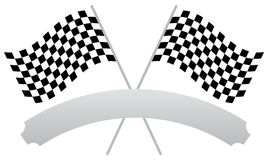 2 crossed racing flags with empty banner, plaque shape for texts Stock Image