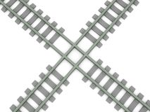 Crossed railroad. Isolated on white background. High quality 3d render Royalty Free Stock Image