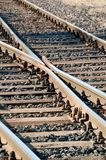 Crossed railway lines. At short range stock photos