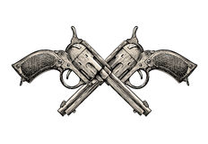 Crossed Revolvers. Vintage guns hand-drawn. Gun, firearms  illustration Stock Photos