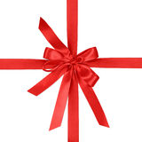 Crossed ribbon and red bow Royalty Free Stock Photo