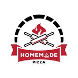 Crossed rolling pin with fire logo. Design for homemade pizza vector illustration Royalty Free Stock Images