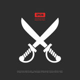 Crossed sabers icon, pirates symbol. Crossed sabers icon, pirates vector symbol Stock Photography