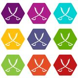 Crossed sabers icon set color hexahedron. Crossed sabers icon set many color hexahedron isolated on white vector illustration Stock Photography
