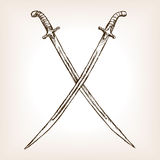 Crossed sabres hand drawn sketch style vector Royalty Free Stock Photo