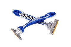 Crossed shaving razors Royalty Free Stock Photos