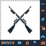 Crossed shotguns, hunting rifles icon flat royalty free illustration