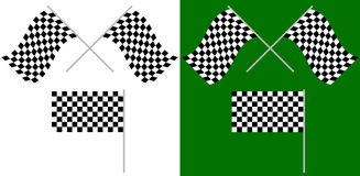 Crossed and single racing, race flags isolated on white / green. Royalty Free Stock Photos