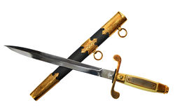 Crossed small sword and scabbard on white Royalty Free Stock Photo
