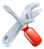 Crossed spanner and screwdriver Stock Images