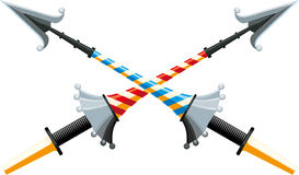 Crossed spear. Crossed tournament spear with an iron hilt with bright color strips on white background Stock Photography