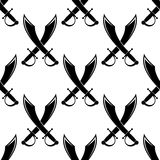 Crossed swords or cutlass seamless pattern Royalty Free Stock Photo