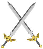 The crossed swords. 3d generated picture of two crossed swords Stock Photography