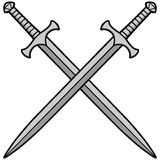 Crossed Swords Illustration. A vector illustration of Crossed Swords Stock Photos