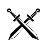 Crossed swords military vector icon. On white background Royalty Free Stock Image