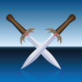 Crossed Swords Pirates Blue Sea. Two crossed pirate swords.  vector illustration on blue sea background Royalty Free Stock Image