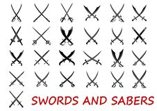 Crossed swords and sabers. Elements isolated on white background, suitable for history and heraldry design Royalty Free Stock Image