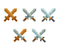 Crossed swords set Stock Photos