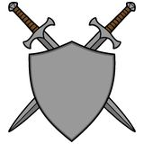 Crossed Swords and Shield - Coat of Arms Royalty Free Stock Images