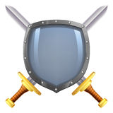 Crossed swords shield Stock Images