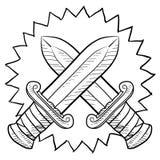 Crossed swords sketch Royalty Free Stock Photo