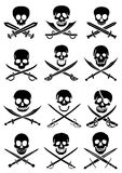 Crossed Swords with Skulls vector collection in wh. A collection of Pirate Skull with Crossed swords in vectors Stock Photo