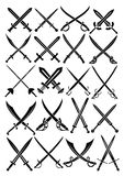 Crossed Swords Vector Collection in White Backgrou Stock Photography