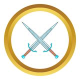 Crossed swords vector icon Royalty Free Stock Images