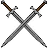 Crossed Swords. A vector illustration of Crossed Swords Stock Photo