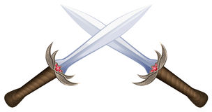 Crossed Swords. On white background. Isolated vector illustration Royalty Free Stock Image