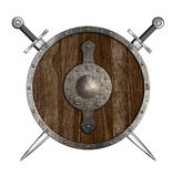 Crossed swords and wooden round shield coat of arms Royalty Free Stock Photos