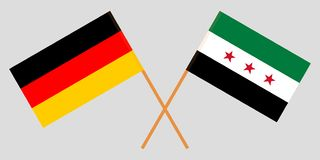 Crossed Syrian National Coalition and Germany flags. Official colors. Correct proportion. Vector. Illustration vector illustration