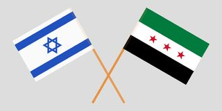 Crossed Syrian National Coalition and Israel flags. Official colors. Correct proportion. Vector. Illustration vector illustration