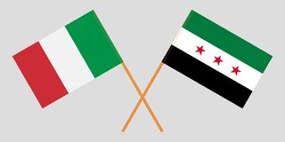 Crossed Syrian National Coalition and Italy flags. Official colors. Correct proportion. Vector. Illustration stock illustration