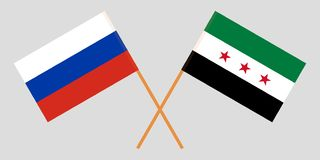 Crossed Syrian National Coalition and Russia flags. Official colors. Correct proportion. Vector. Illustration royalty free illustration