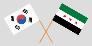 Crossed Syrian National Coalition and South Korea flags. Official colors. Correct proportion. Vector. Illustration royalty free illustration