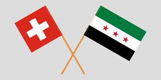 Crossed Syrian National Coalition and Switzerland flags. Official colors. Correct proportion. Vector. Illustration stock illustration